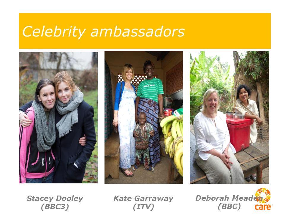 Celebrity ambassadors Stacey Dooley (BBC3) Kate Garraway (ITV) Deborah Meaden (BBC)