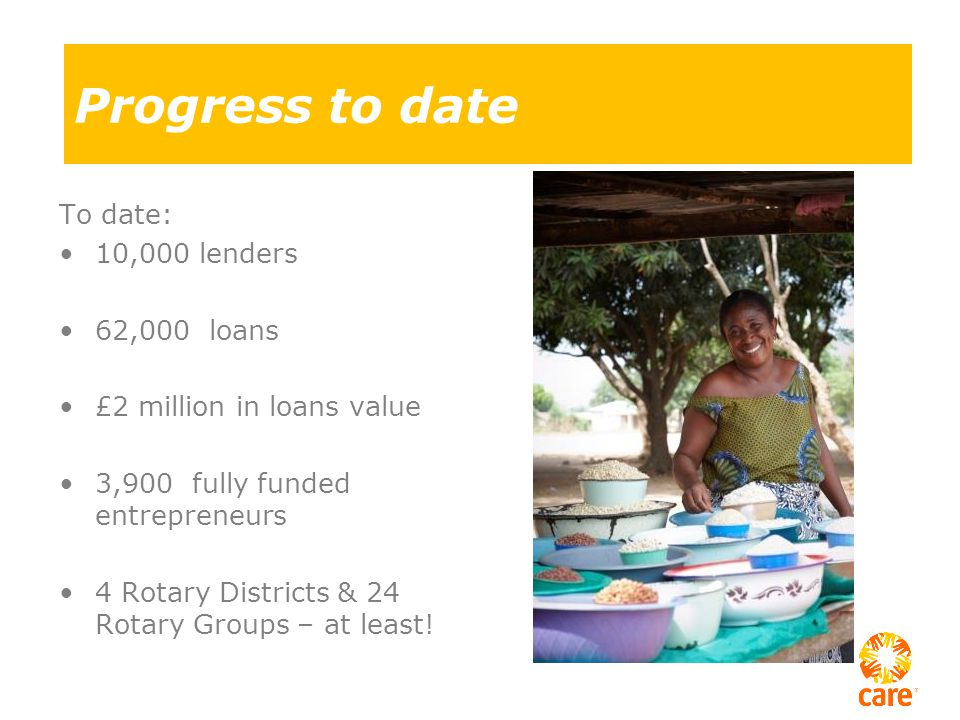 Progress to date To date: 10,000 lenders 62,000 loans £2 million in loans value 3,900 fully funded entrepreneurs 4 Rotary Districts & 24 Rotary Groups – at least!