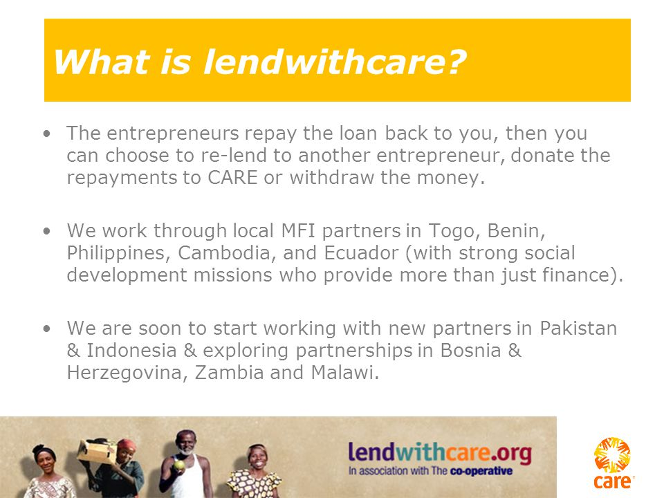 1.The Entrepreneur has an idea 2.The microfinance institution (MFI) gives a loan 3.