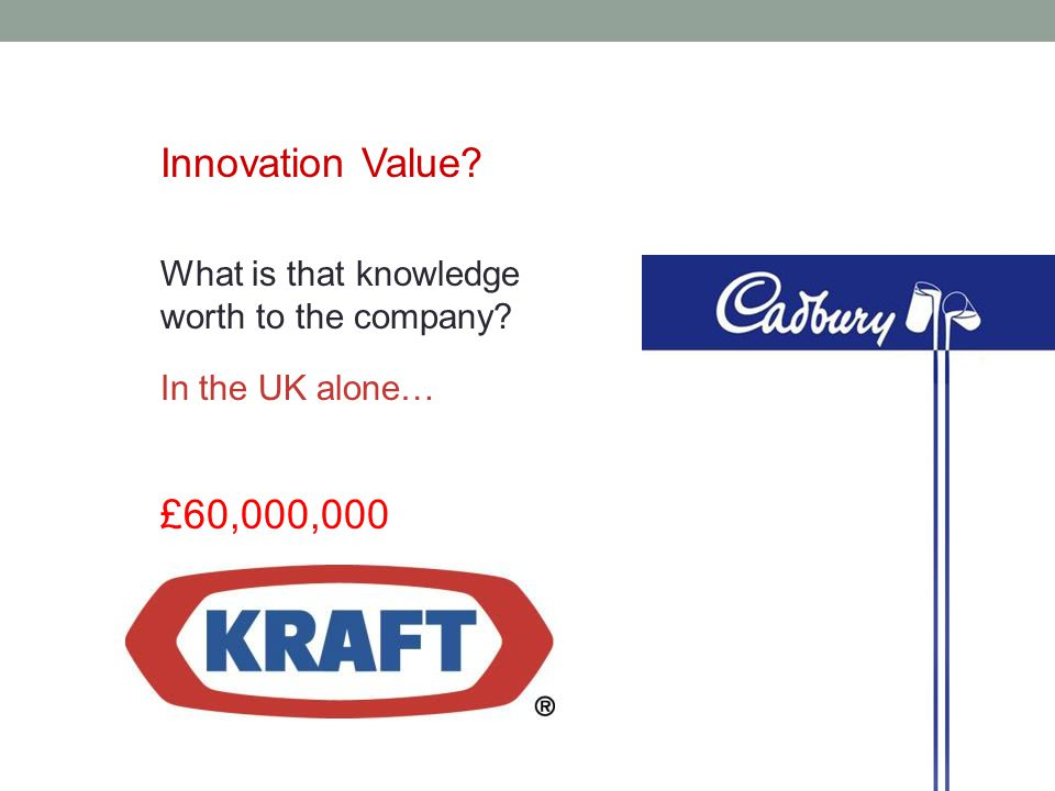What is that knowledge worth to the company Innovation Value In the UK alone… £60,000,000