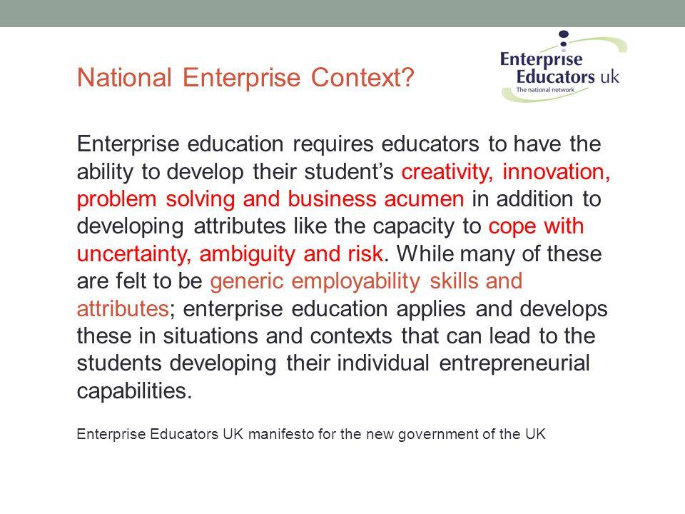 National Enterprise Context.