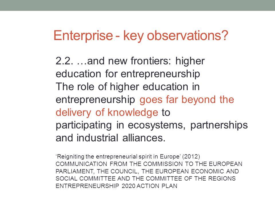 Enterprise - key observations. 2.2.