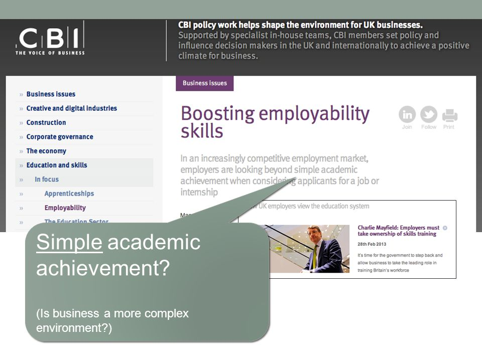 Simple academic achievement? (Is business a more complex environment?) Simple academic achievement? (Is business a more complex environment?)
