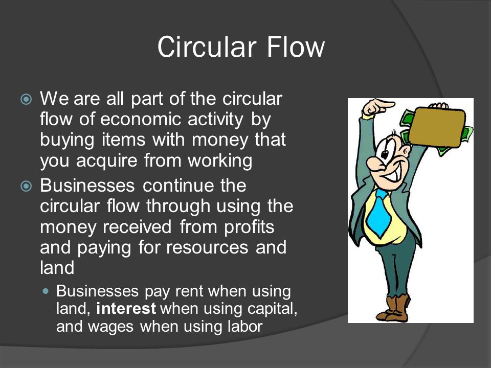 Circular Flow  We are all part of the circular flow of economic activity by buying items with money that you acquire from working  Businesses continue the circular flow through using the money received from profits and paying for resources and land Businesses pay rent when using land, interest when using capital, and wages when using labor