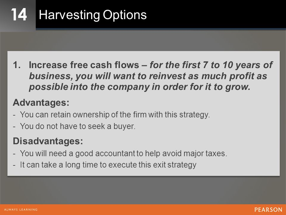 14 Harvesting Options 1.Increase free cash flows – for the first 7 to 10 years of business, you will want to reinvest as much profit as possible into