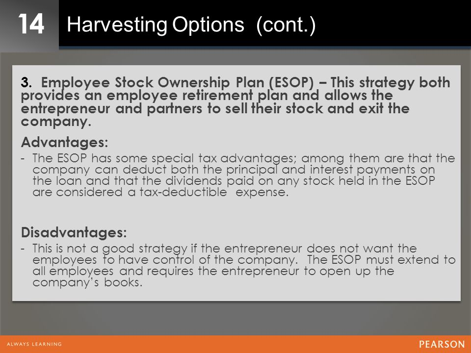 14 Harvesting Options (cont.) 3. Employee Stock Ownership Plan (ESOP) – This strategy both provides an employee retirement plan and allows the entrepr
