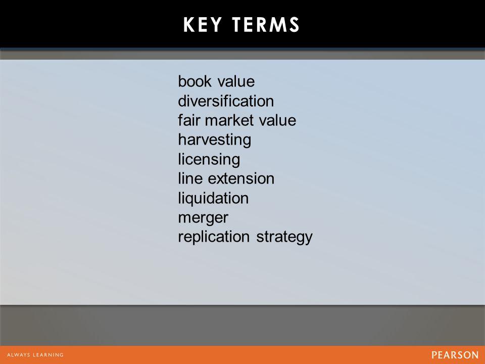 KEY TERMS book value diversification fair market value harvesting licensing line extension liquidation merger replication strategy