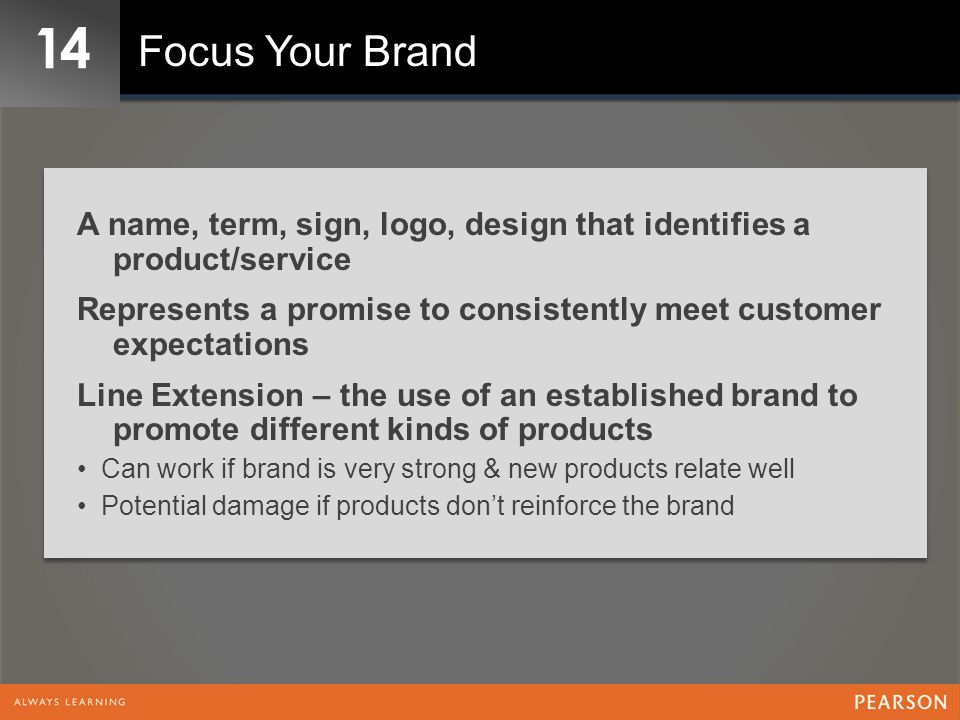 14 Focus Your Brand A name, term, sign, logo, design that identifies a product/service Represents a promise to consistently meet customer expectations