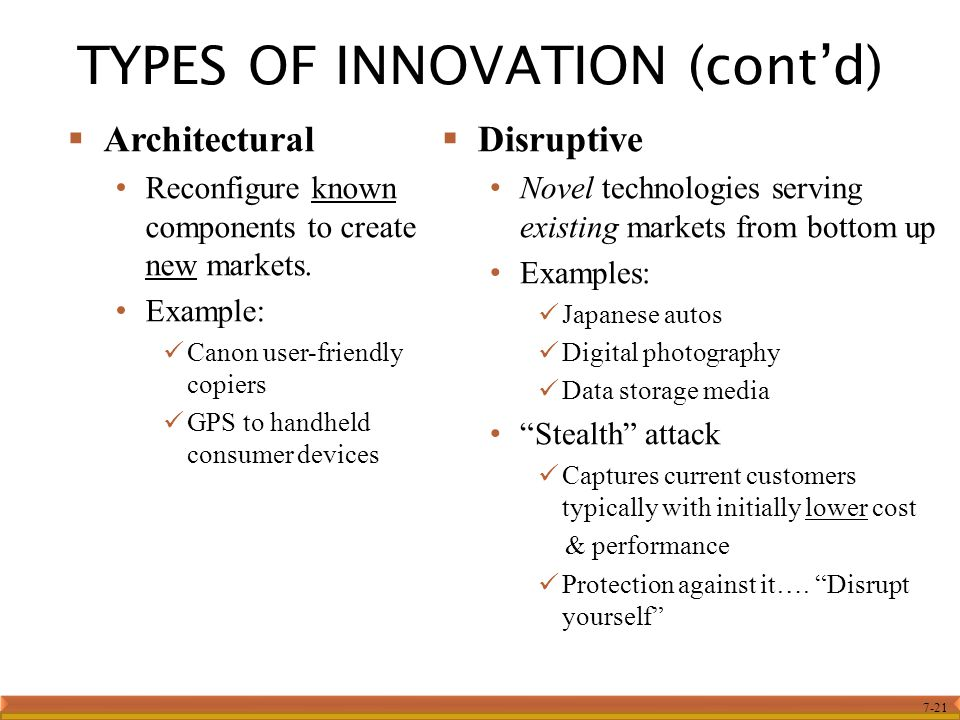 7-21 TYPES OF INNOVATION (cont'd)  Architectural Reconfigure known components to create new markets. Example: Canon user-friendly copiers GPS to hand