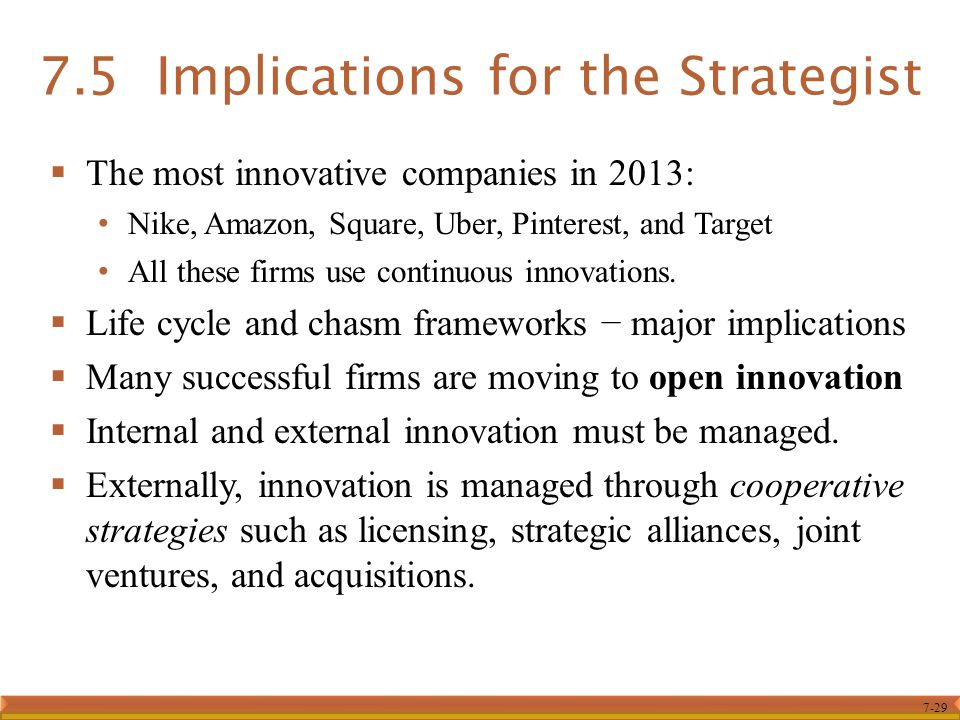 7-29 7.5 Implications for the Strategist  The most innovative companies in 2013: Nike, Amazon, Square, Uber, Pinterest, and Target All these firms us