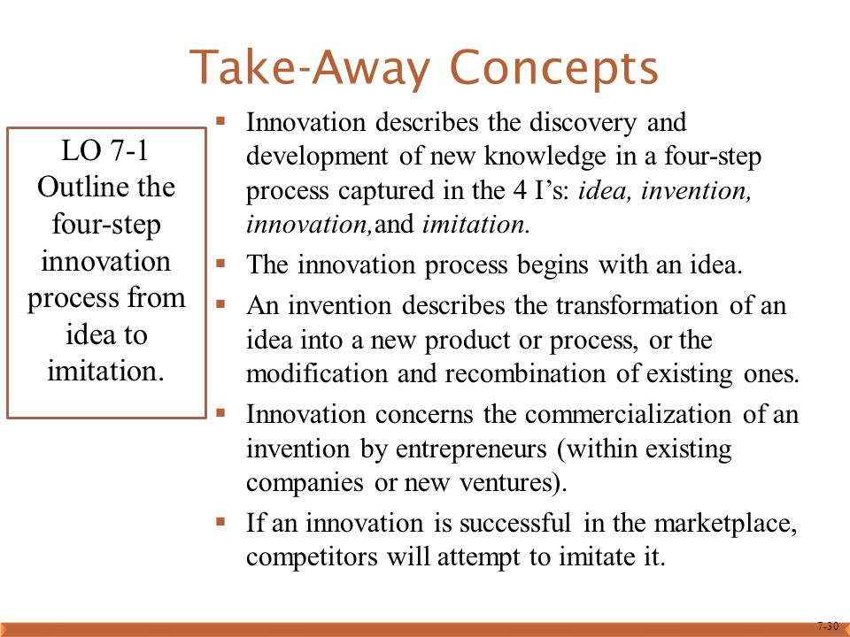 7-30 Take-Away Concepts  Innovation describes the discovery and development of new knowledge in a four-step process captured in the 4 I's: idea, inve