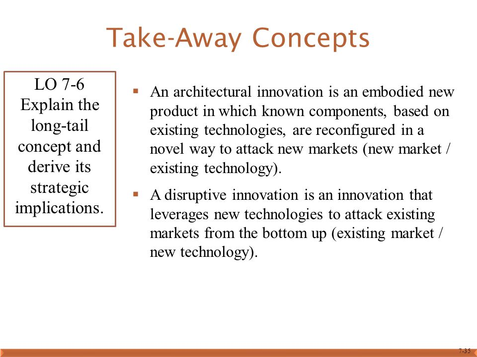 7-35 Take-Away Concepts  An architectural innovation is an embodied new product in which known components, based on existing technologies, are reconf