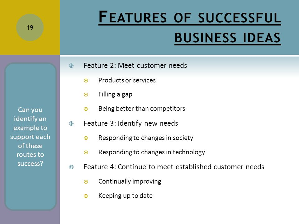 F EATURES OF SUCCESSFUL BUSINESS IDEAS  Feature 2: Meet customer needs  Products or services  Filling a gap  Being better than competitors  Feature 3: Identify new needs  Responding to changes in society  Responding to changes in technology  Feature 4: Continue to meet established customer needs  Continually improving  Keeping up to date 19 Can you identify an example to support each of these routes to success?