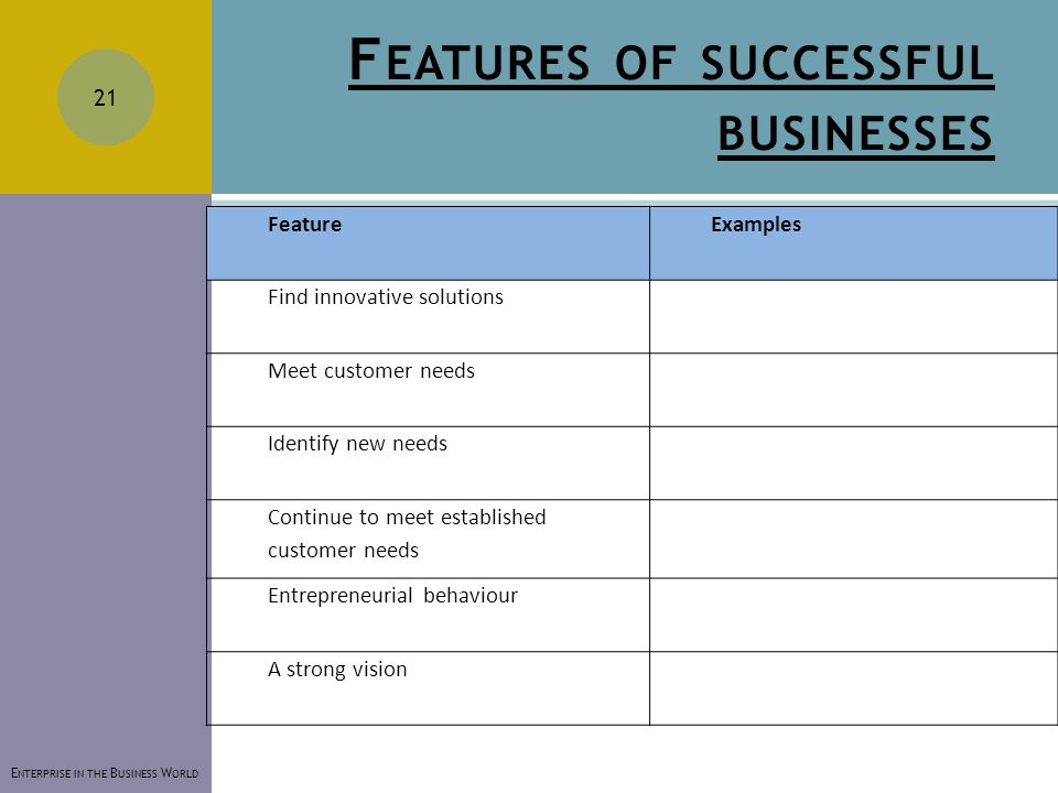 F EATURES OF SUCCESSFUL BUSINESSES FeatureExamples Find innovative solutions Meet customer needs Identify new needs Continue to meet established customer needs Entrepreneurial behaviour A strong vision E NTERPRISE IN THE B USINESS W ORLD 21