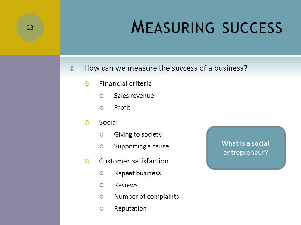 M EASURING SUCCESS  How can we measure the success of a business.