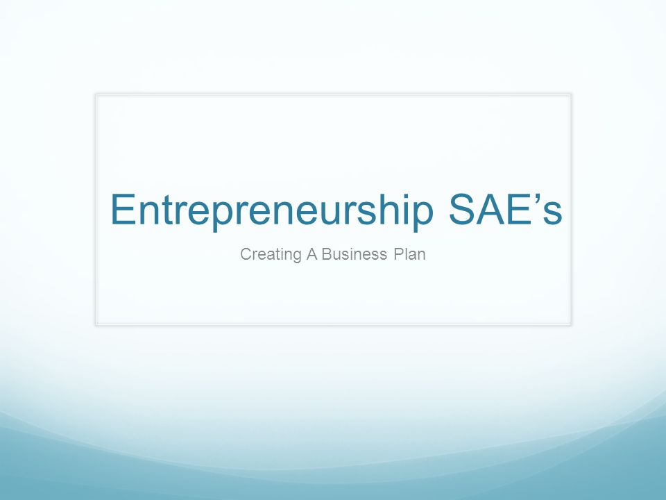 Entrepreneurship SAE's Creating A Business Plan