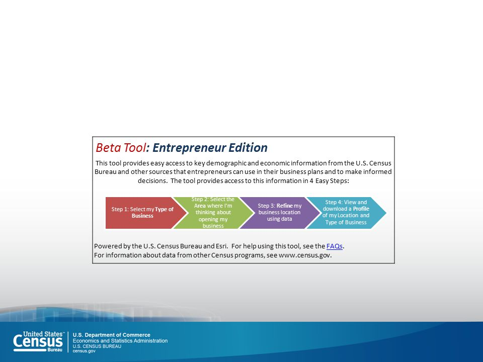 Beta Tool: Entrepreneur Edition This tool provides easy access to key demographic and economic information from the U.S.