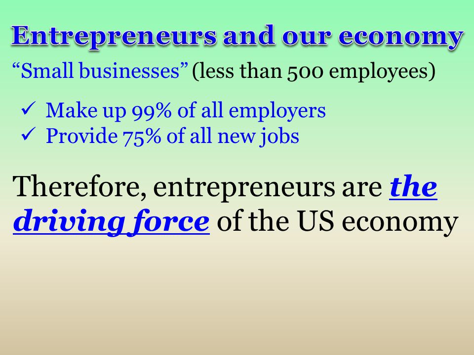 """""""Small businesses"""" (less than 500 employees) Make up 99% of all employers Provide 75% of all new jobs Therefore, entrepreneurs are the driving force o"""