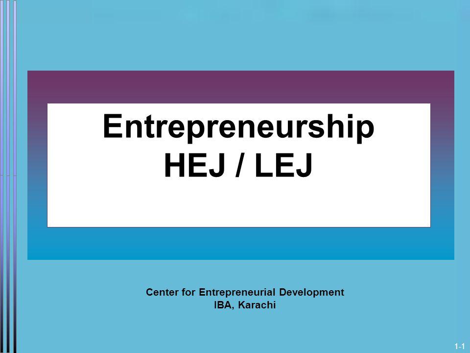1-1 Entrepreneurship HEJ / LEJ Center for Entrepreneurial Development IBA, Karachi