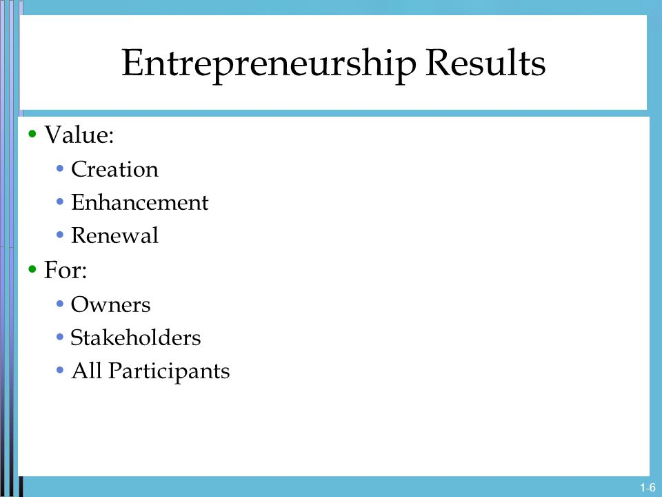 1-6 Entrepreneurship Results Value: Creation Enhancement Renewal For: Owners Stakeholders All Participants