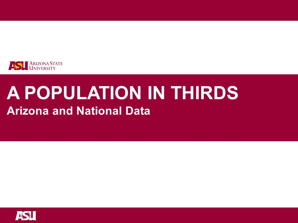 University as Entrepreneur A POPULATION IN THIRDS Arizona and National Data