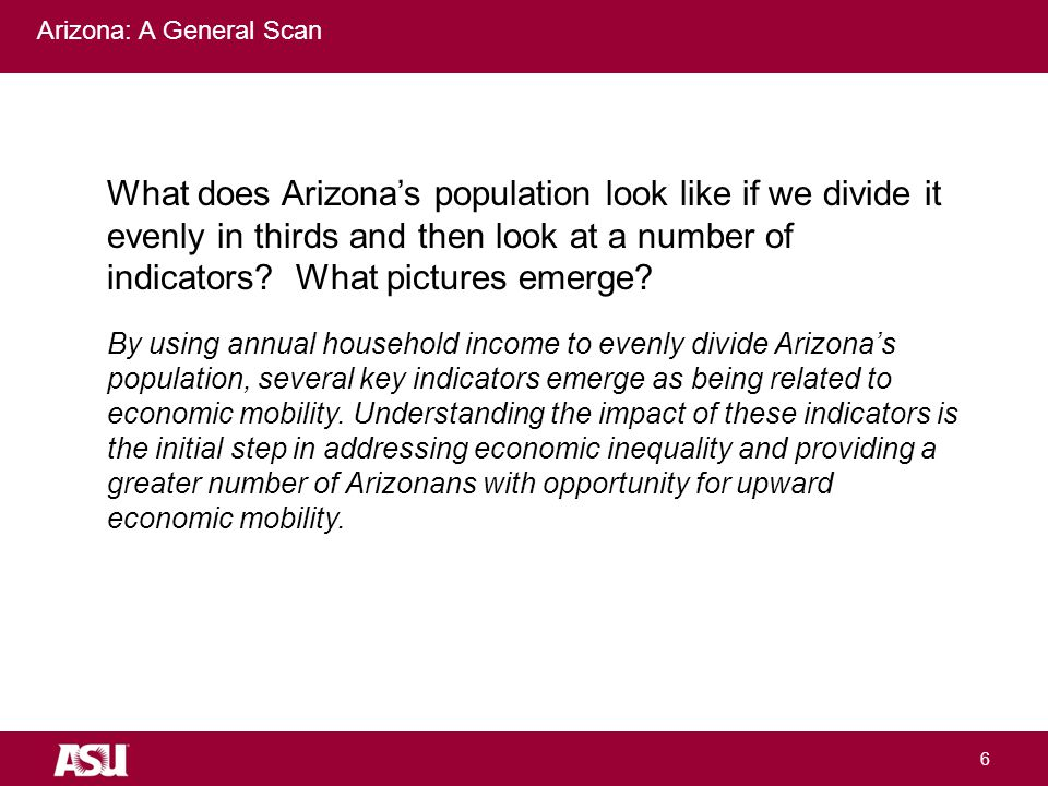 University as Entrepreneur 6 Arizona: A General Scan What does Arizona's population look like if we divide it evenly in thirds and then look at a number of indicators.