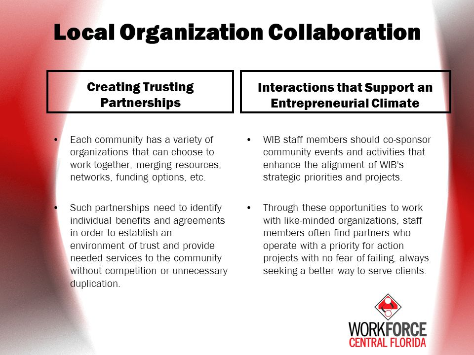 Local Organization Collaboration Creating Trusting Partnerships Each community has a variety of organizations that can choose to work together, merging resources, networks, funding options, etc.