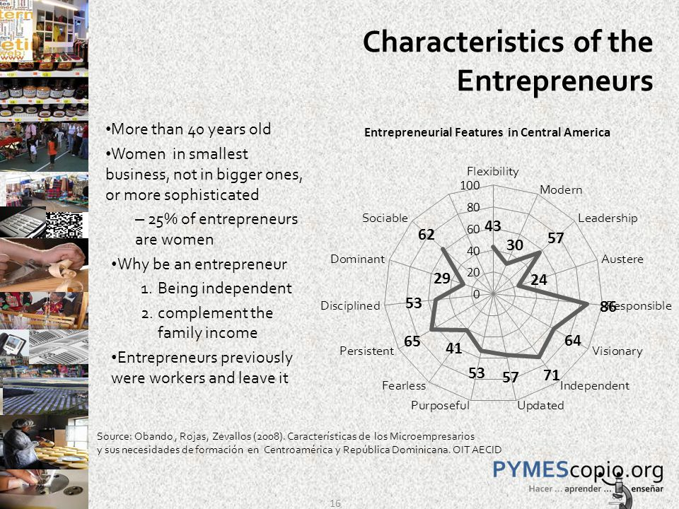 Characteristics of the Entrepreneurs More than 40 years old Women in smallest business, not in bigger ones, or more sophisticated – 25% of entrepreneurs are women Why be an entrepreneur 1.Being independent 2.complement the family income Entrepreneurs previously were workers and leave it Source: Obando, Rojas, Zevallos (2008).