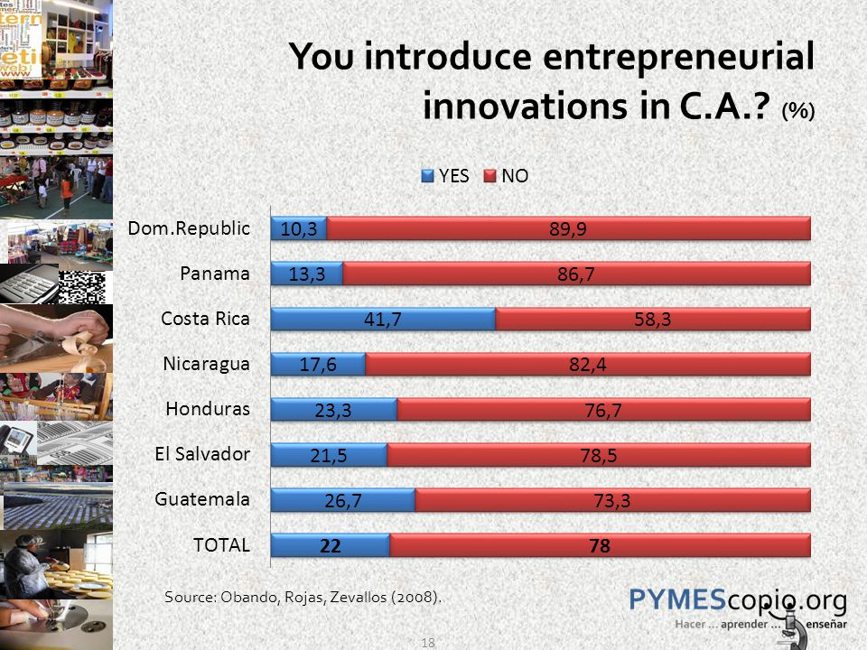 You introduce entrepreneurial innovations in C.A. (%) Source: Obando, Rojas, Zevallos (2008). 18