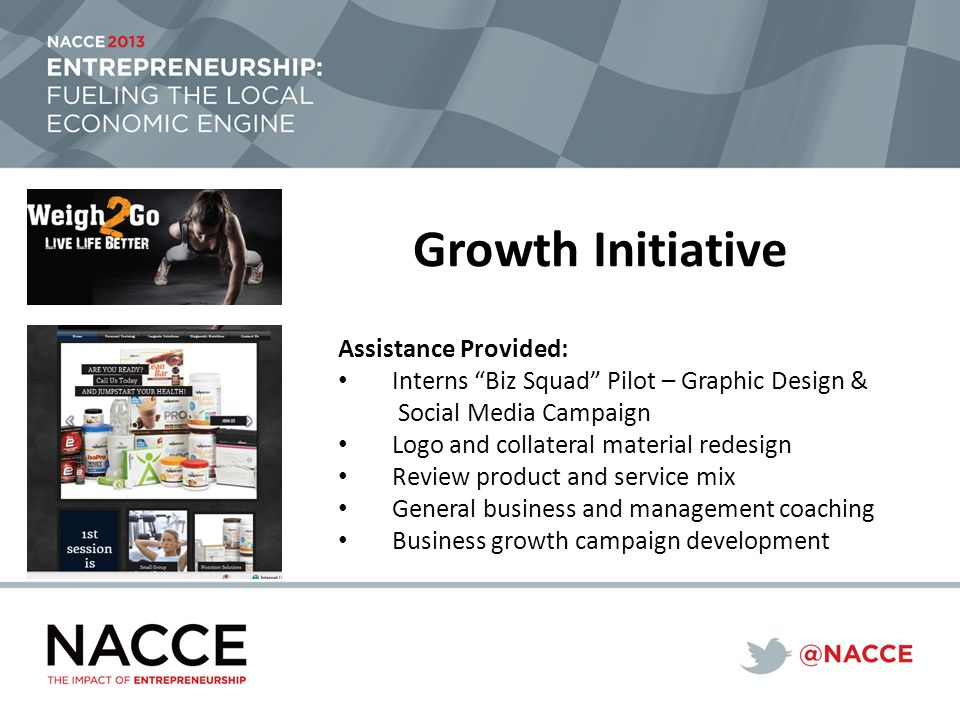Growth Initiative Assistance Provided: Interns Biz Squad Pilot – Graphic Design & Social Media Campaign Logo and collateral material redesign Review product and service mix General business and management coaching Business growth campaign development