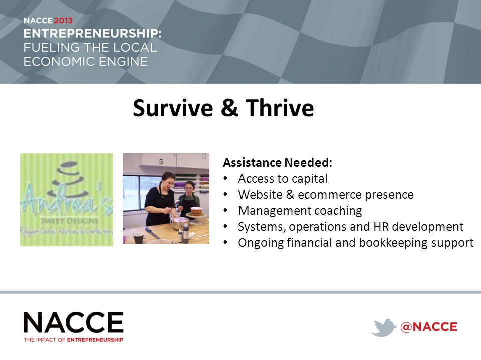Survive & Thrive Assistance Needed: Access to capital Website & ecommerce presence Management coaching Systems, operations and HR development Ongoing financial and bookkeeping support