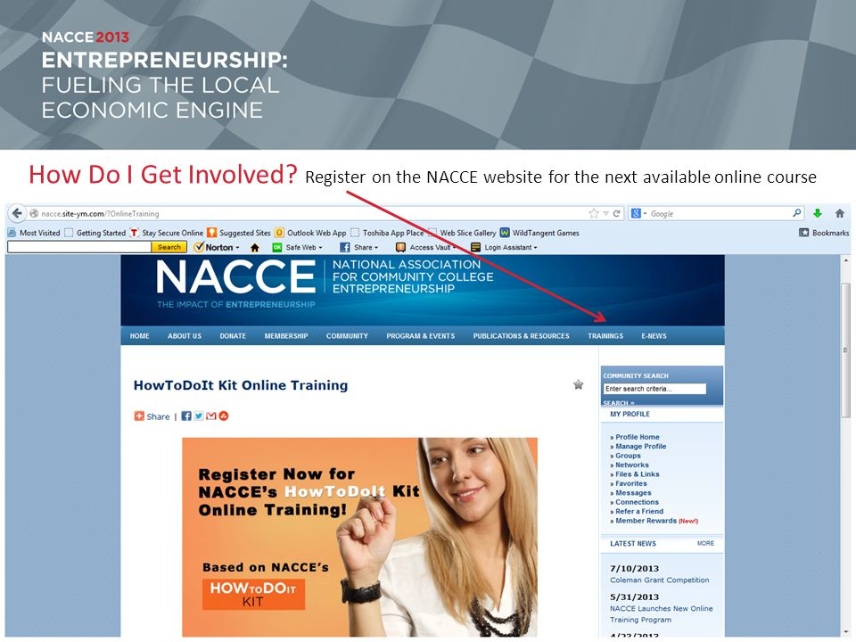 How Do I Get Involved Register on the NACCE website for the next available online course