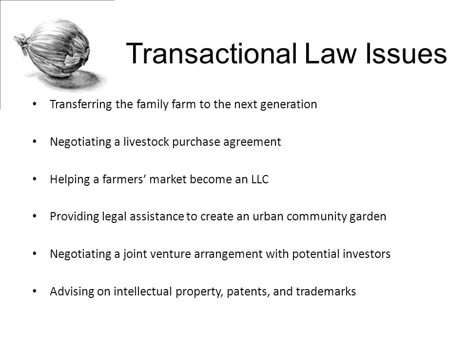 Transactional Law Issues Transferring the family farm to the next generation Negotiating a livestock purchase agreement Helping a farmers' market become an LLC Providing legal assistance to create an urban community garden Negotiating a joint venture arrangement with potential investors Advising on intellectual property, patents, and trademarks