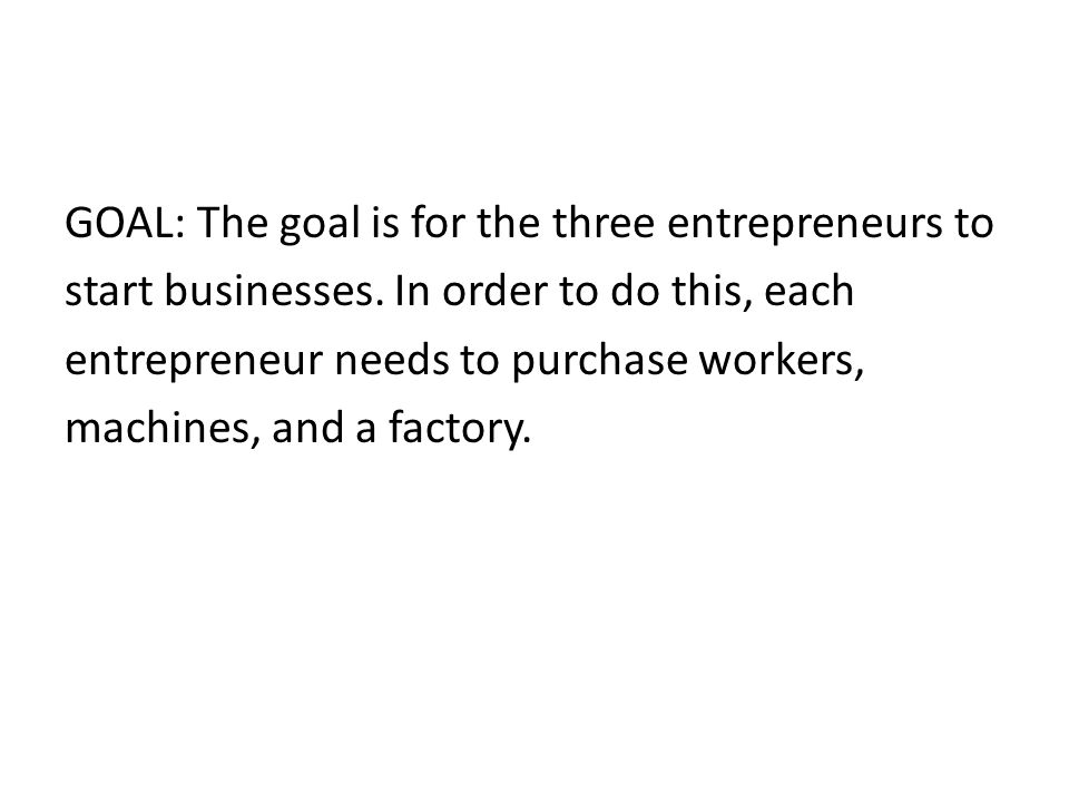 GOAL: The goal is for the three entrepreneurs to start businesses.