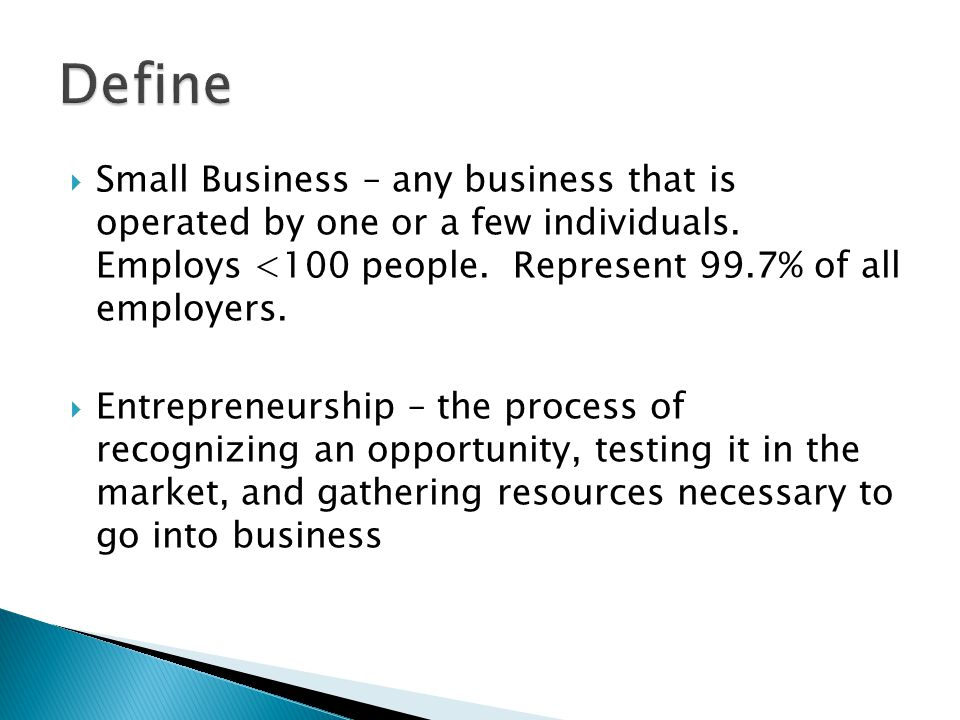  Small Business – any business that is operated by one or a few individuals.