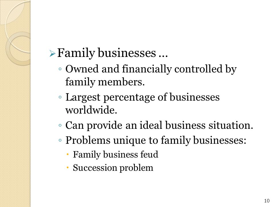  Family businesses … ◦ Owned and financially controlled by family members. ◦ Largest percentage of businesses worldwide. ◦ Can provide an ideal busin