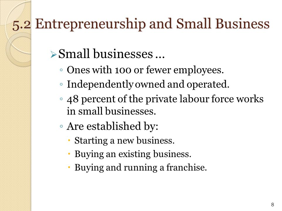  Small businesses … ◦ Ones with 100 or fewer employees. ◦ Independently owned and operated. ◦ 48 percent of the private labour force works in small b