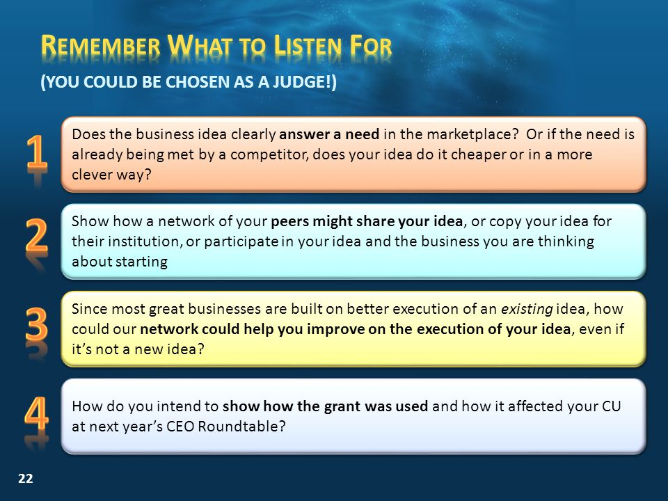 22 (YOU COULD BE CHOSEN AS A JUDGE!) Does the business idea clearly answer a need in the marketplace.