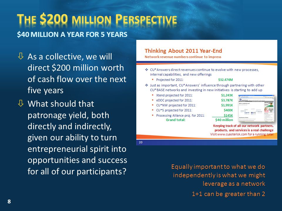òAs a collective, we will direct $200 million worth of cash flow over the next five years òWhat should that patronage yield, both directly and indirectly, given our ability to turn entrepreneurial spirit into opportunities and success for all of our participants.
