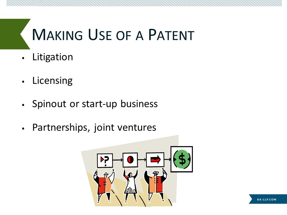 Litigation Licensing Spinout or start-up business Partnerships, joint ventures