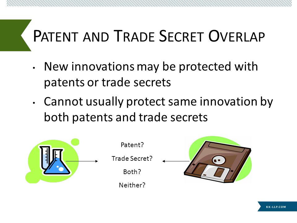 New innovations may be protected with patents or trade secrets Cannot usually protect same innovation by both patents and trade secrets P ATENT AND T RADE S ECRET O VERLAP Patent.