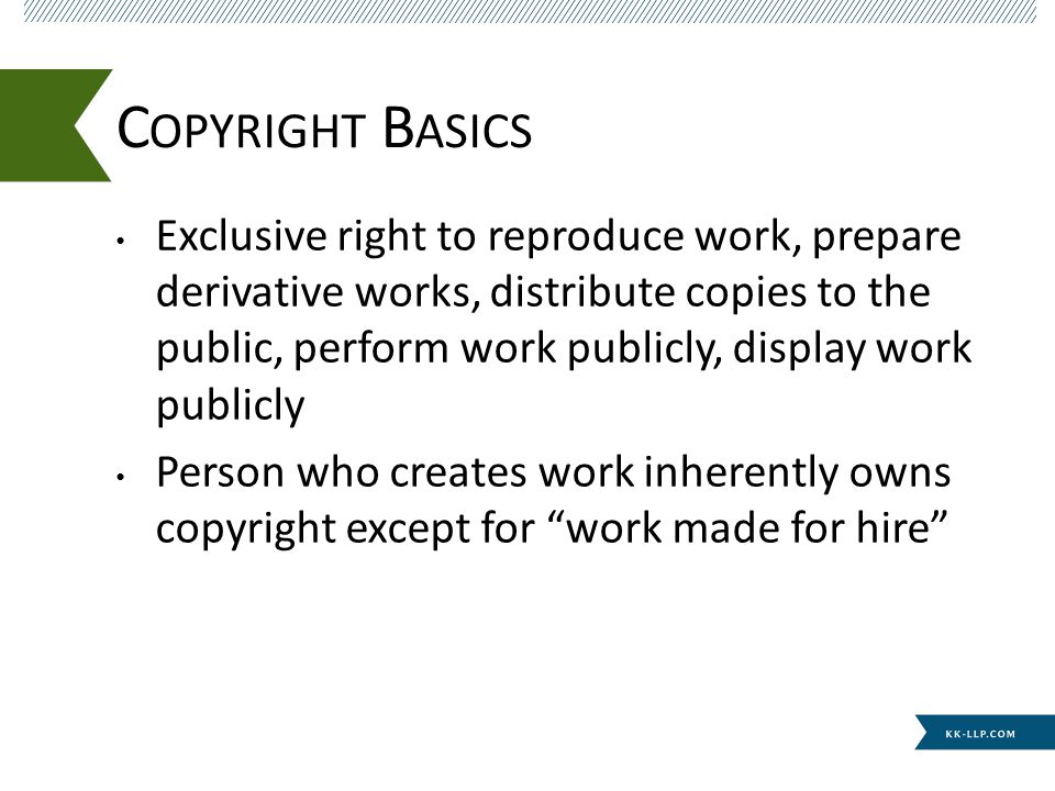 Should place copyright notice in place where it can be immediately seen Fair use Infringement – substantially similar test C OPYRIGHT U SE AND M ISUSE