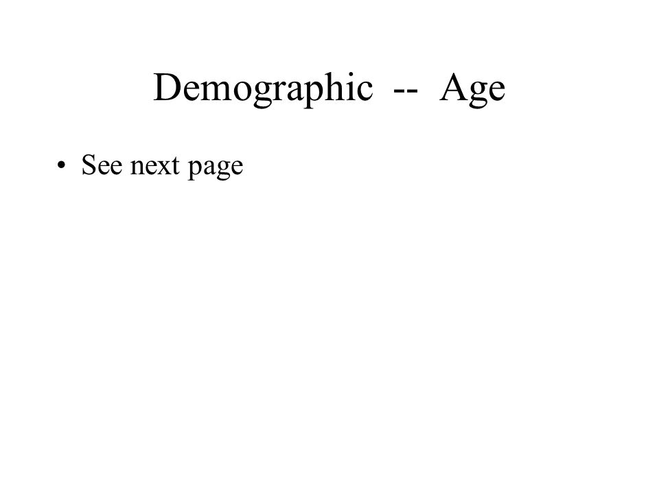 Demographic -- Age See next page