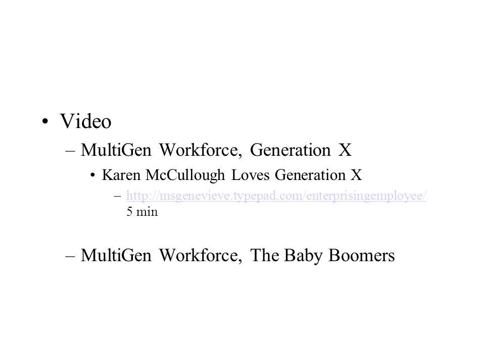 Video –MultiGen Workforce, Generation X Karen McCullough Loves Generation X –http://msgenevieve.typepad.com/enterprisingemployee/ 5 minhttp://msgenevieve.typepad.com/enterprisingemployee/ –MultiGen Workforce, The Baby Boomers