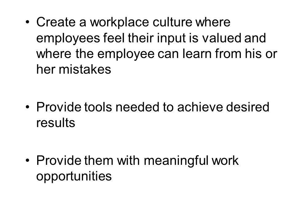 Create a workplace culture where employees feel their input is valued and where the employee can learn from his or her mistakes Provide tools needed to achieve desired results Provide them with meaningful work opportunities