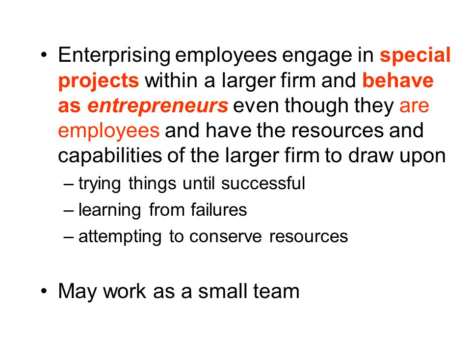 Enterprising employees engage in special projects within a larger firm and behave as entrepreneurs even though they are employees and have the resources and capabilities of the larger firm to draw upon –trying things until successful –learning from failures –attempting to conserve resources May work as a small team