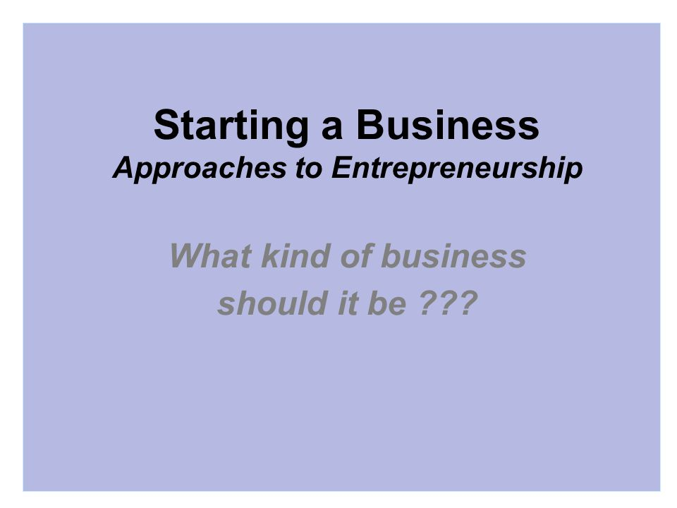 Starting a Business Approaches to Entrepreneurship What kind of business should it be
