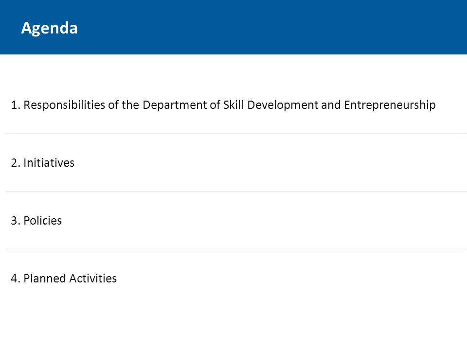 Agenda 1. Responsibilities of the Department of Skill Development and Entrepreneurship 2.