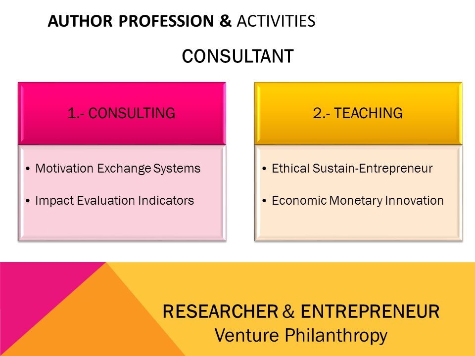 AUTHOR PROFESSION & ACTIVITIES CONSULTANT RESEARCHER & ENTREPRENEUR Venture Philanthropy 1.- CONSULTING Motivation Exchange Systems Impact Evaluation Indicators 2.- TEACHING Ethical Sustain-Entrepreneur Economic Monetary Innovation