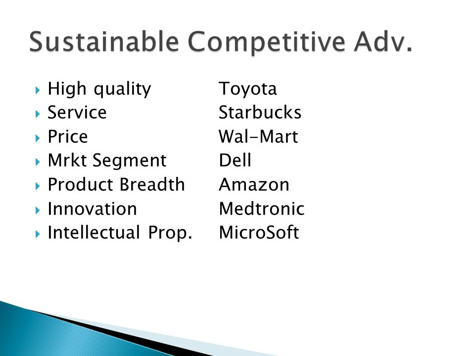  High qualityToyota  ServiceStarbucks  PriceWal-Mart  Mrkt SegmentDell  Product BreadthAmazon  InnovationMedtronic  Intellectual Prop.